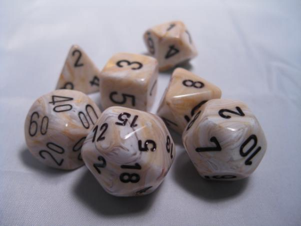 Chessex RPG Dice Sets: Ivory/Black Marbleized Polyhedral 7-Die Set