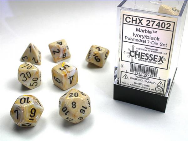 Chessex RPG Dice Sets: Ivory/Black Marbleized Polyhedral 7-Die Set