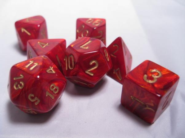 Chessex RPG Dice Sets: Scarlet/Gold Scarab Polyhedral 7-Die Set