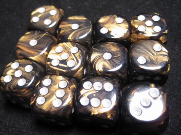 Chessex Dice Sets: Black-Gold/Silver Leaf 16mm d6 (12)
