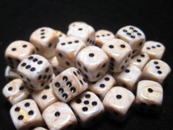 Chessex Dice Sets: Ivory/Black Marbleized 12mm d6 (36)