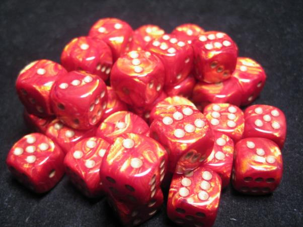 Chessex Dice Sets: Scarlet/Gold Scarab 12mm d6 (36)