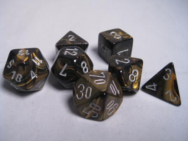 Chessex RPG Dice Sets: Black-Gold/Silver Leaf Polyhedral 7-Die Set