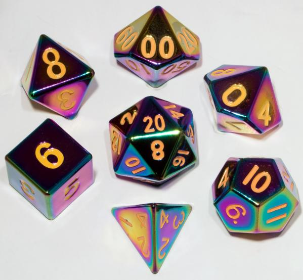 Metallic Dice Set: 16mm Polyhedral Flame Torched Rainbow (7)