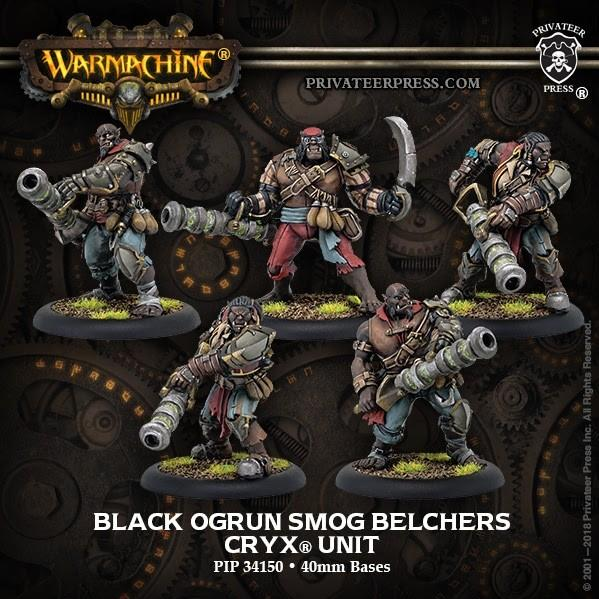 Warmachine: (Cryx) Black Ogrun Smog Belchers (5) – Cryx Unit (resin/metal)