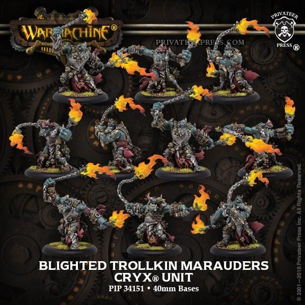 Warmachine: (Cryx) Blighted Trollkin Marauders (10) – Cryx Unit  (resin/metal)