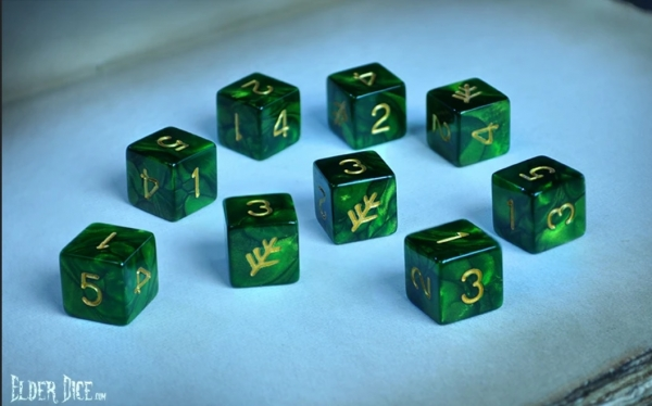 Elder Dice Set: Lovecraft Elder Sign (Nine d6 in Tube)