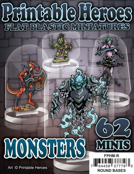 Flat Plastic Miniatures: Printable Heroes - Monsters Pack