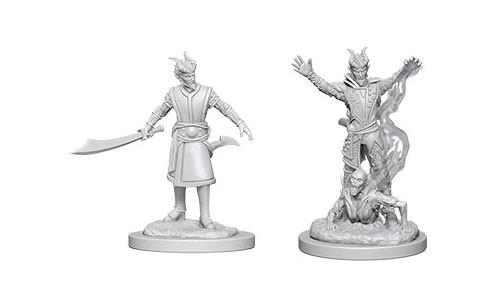 WizKids Nolzur's Marvelous Unpainted Miniatures: Male Tiefling Warlocks (2)