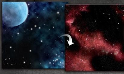 Game Play Mats: 3′ x 3′ Double-Sided Neoprene Mat - Frozen Planet /Crimson Gas Cloud