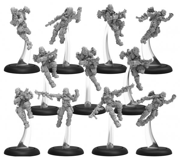 Warmachine: (Golden Crucible) Crucible Guard Rocketmen & CA Unit (14) (metal/resin)