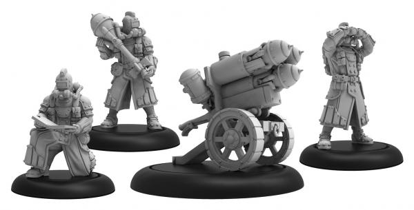 Warmachine: (Golden Crucible) Dragon's Breath – Rocket Weapon Crew Unit (3) (metal/resin)
