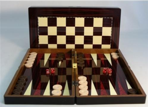 Backgammon Set: 19'' Simple Wood Decoupage Backgammon