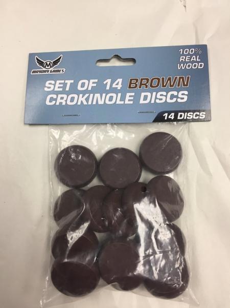 Brown Wooden Crokinole Discs (14)