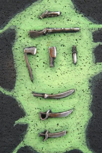Miniature Accessories: Weapons: Musket, Pistol, Cleaver, Axe, 3 Sabers, Knife