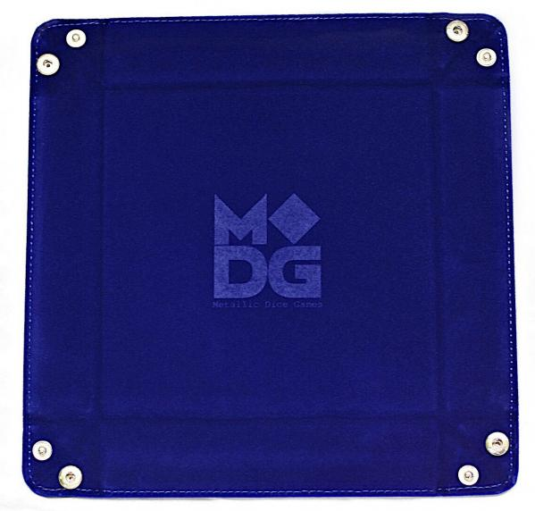 Velvet Folding Dice Tray: 10''x10'' Blue with Leather Backing