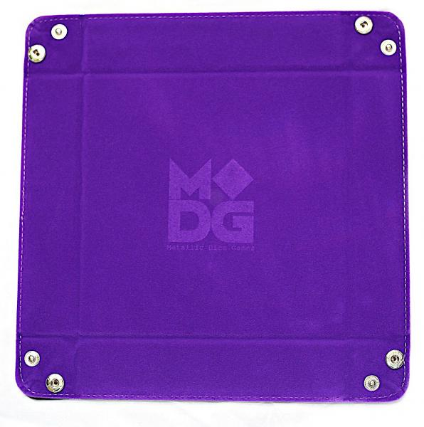 Velvet Folding Dice Tray: 10''x10'' Purple with Leather Backing