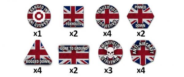 Flames Of War (Team Yankee): British Token Set (22)