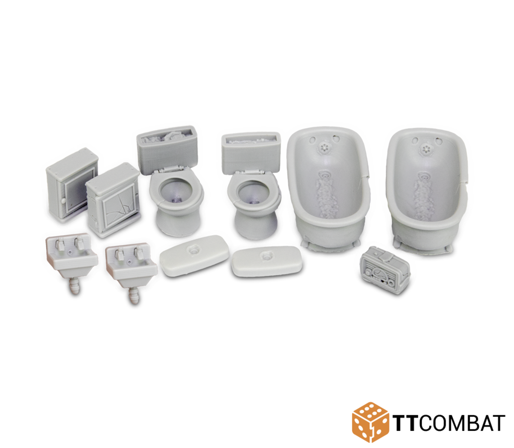 28mm Terrain: City Accessories - Bathroom Accessories (11) (resin)