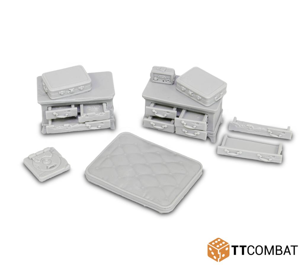 28mm Terrain: City Accessories - Bedroom Accessories (9) (resin)