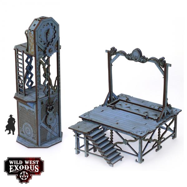 Wild West Exodus: Red Oak Gallows and Clock Tower Scenery Set