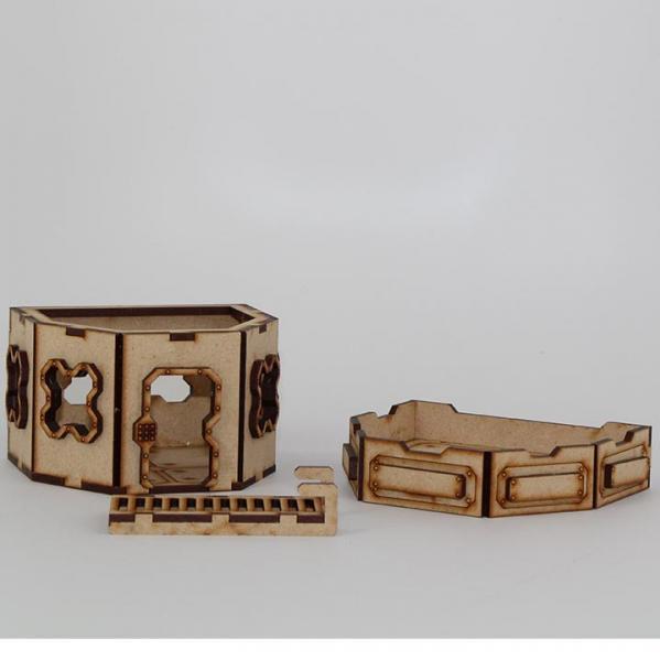 Laser Craft Workshop MDF Terrain: 4'' Hex Single Story Blockhouse