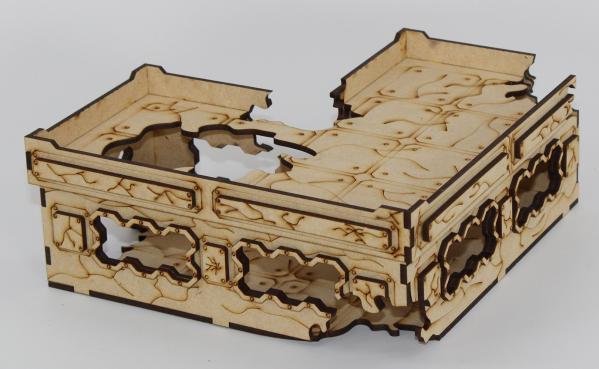 Laser Craft Workshop MDF Terrain: 8'' L-shaped Ruined Blockhouse