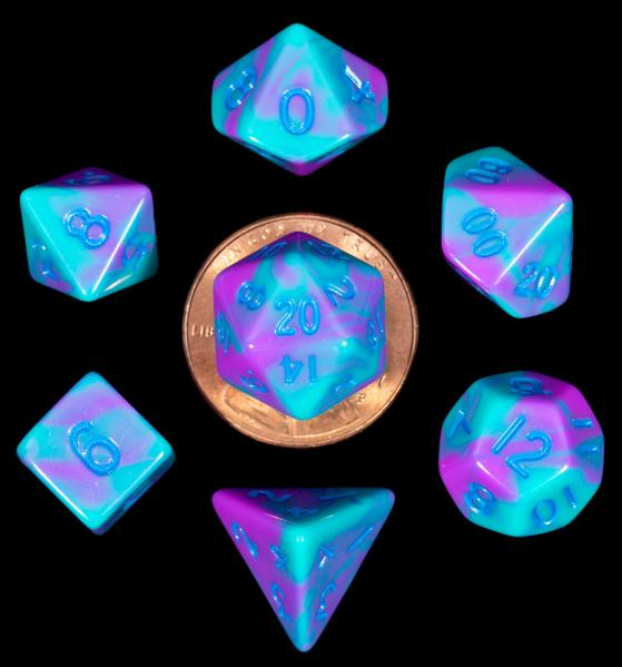 Mini Polyhedral Dice Set: Purple/Teal with Blue Numbers