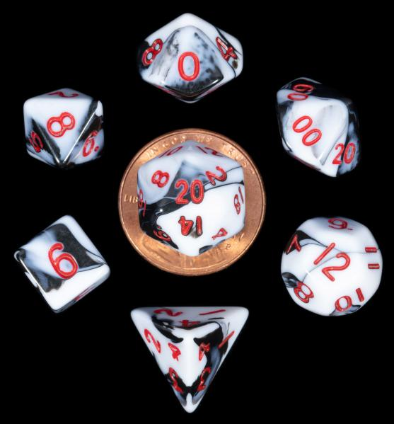 Mini Polyhedral Dice Set: Marble with Red Numbers