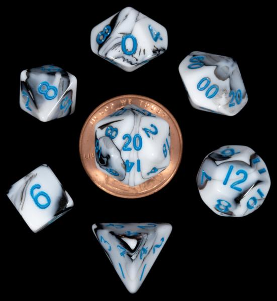 Mini Polyhedral Dice Set: Marble with Blue Numbers