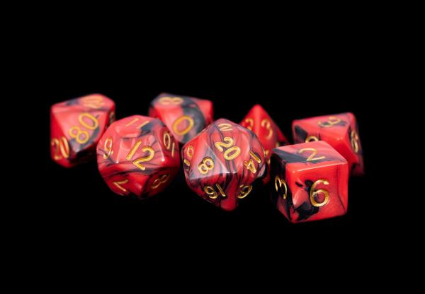 Acrylic Dice Set: 16mm Red/Black with Gold Numbers