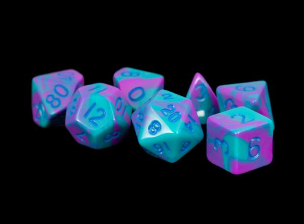 Acrylic Dice Set: 16mm Purple/Teal with Blue Numbers
