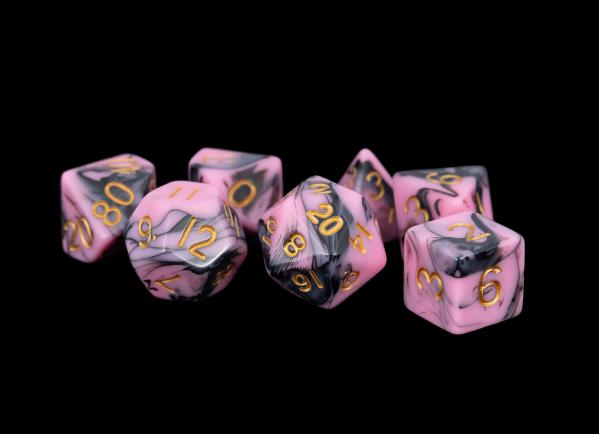 Acrylic Dice Set: 16mm Pink/Black with Gold Numbers