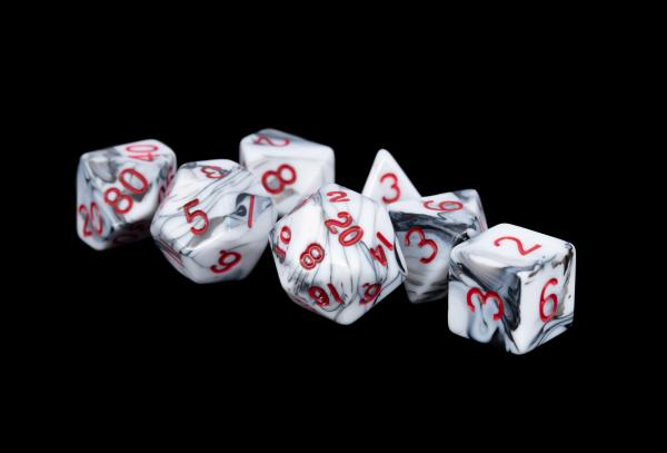 Acrylic Dice Set: 16mm Marble with Red Numbers