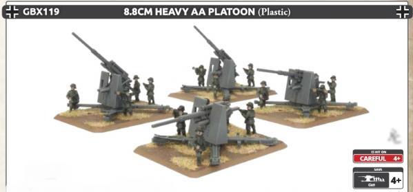 Flames Of War (WWII): (Iron Cross) 8.8cm Heavy AA Platoon (Plastic)