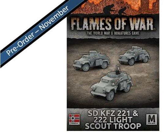 Flames Of War (WWII): (Iron Cross) Sd Kfz 221 and 222 Light Scout Troop