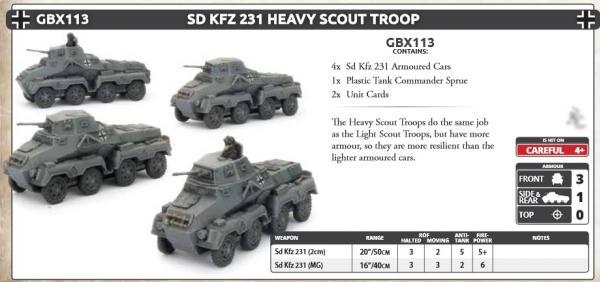 Flames Of War (WWII): (Iron Cross) Sd Kfz 231 Heavy Scout Troop