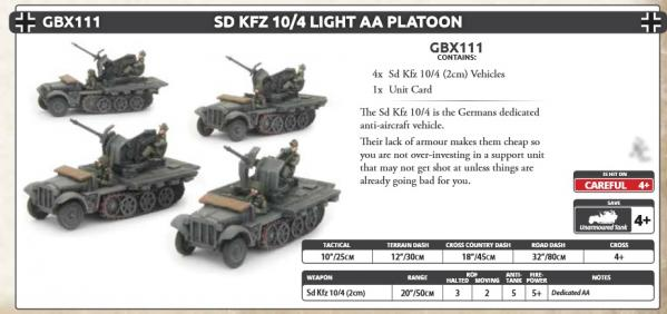 Flames Of War (WWII): (Iron Cross) Sd Kfz 10/4 Light AA Platoon