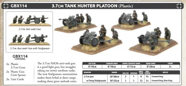 Flames Of War (WWII): (Iron Cross) 3.7cm Tank-hunter Platoon (Plastic)
