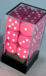 Chessex Dice Sets: Opaque 16mm d6 Pink/white Dice Block (12 dice)