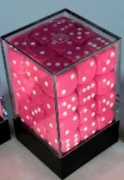 Chessex Dice Sets: Opaque 12mm d6 Pink/white Dice Block (36 dice)