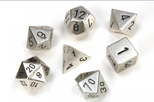 Chessex Metal Dice: Metal Silver 7 Die Polyhedral Set