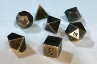 Chessex Metal Dice: Metal Old Brass 7 Die Polyhedral Set