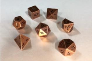 Chessex Metal Dice: Metal Copper 7 Die Polyhedral Set