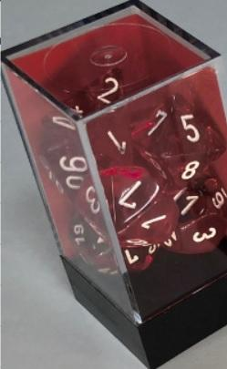 Chessex RPG Dice Sets: Translucent Polyhedral Red/white 7-Die Set