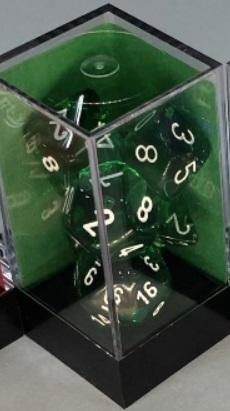 Chessex RPG Dice Sets: Translucent Polyhedral Green/white 7-Die Set