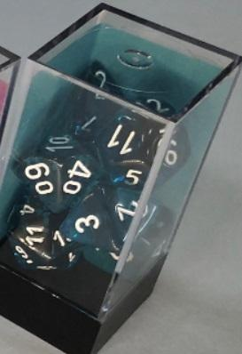 Chessex RPG Dice Sets: Translucent Polyhedral Teal/white 7-Die Set