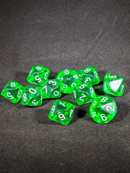 Dice Sets: Green/White Translucent d10 Set (10)