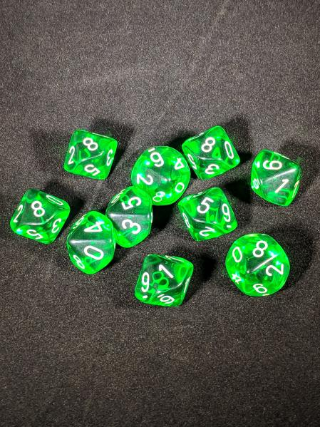 Dice Sets: Green/White Translucent d10 Set (10)