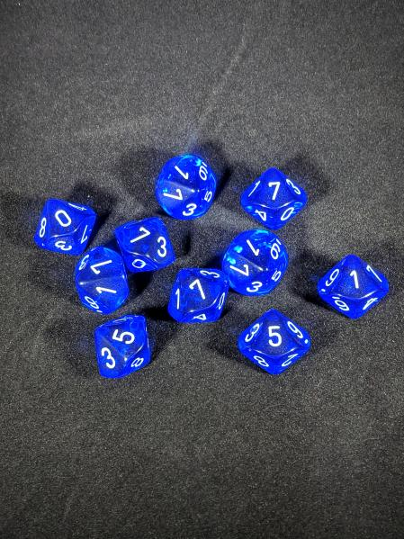 Dice Sets: Blue/White Translucent d10 Set (10)